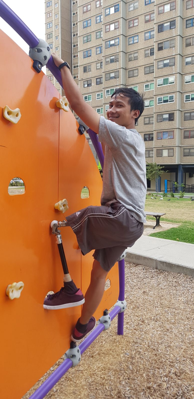 Mohammed on the climbing wall